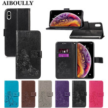 3D Leather Card Holder Stand Magnetic Flip Clover Wallet Covers For Apple iPhone XS A1920