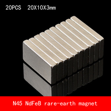 20PCS 20*10*3mm N45 Strong NdFeB rare earth permanent magnet plating Nickel 20X10X3MM