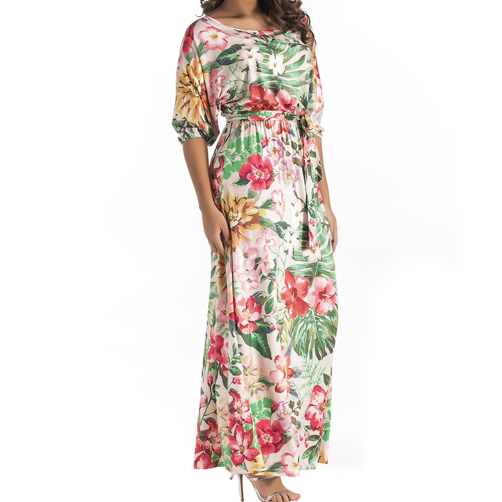 PINK HEROES Women Plus Size Loose Flower Print Strapless Batwing Sleeve Boho Chic Tie Long Dress