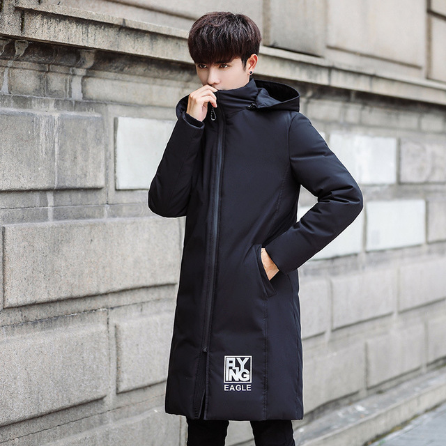 Fashion trend new white duck down filled Men's winter down jacket Korean long section men's foreign trade men's winter clothing