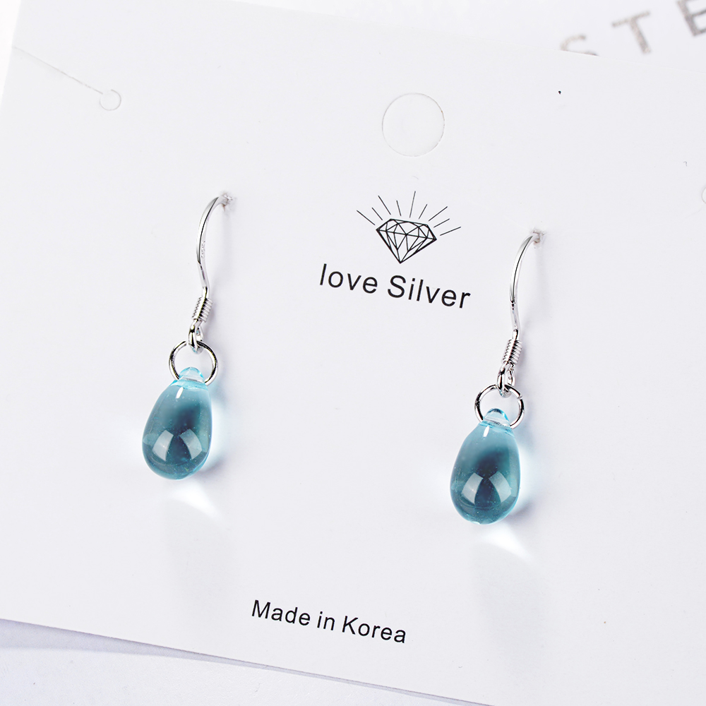 Женские серьги-капли с искусственным голубым кристаллом ANENJERY, из стерлингового серебра 925 пробы, S-E666