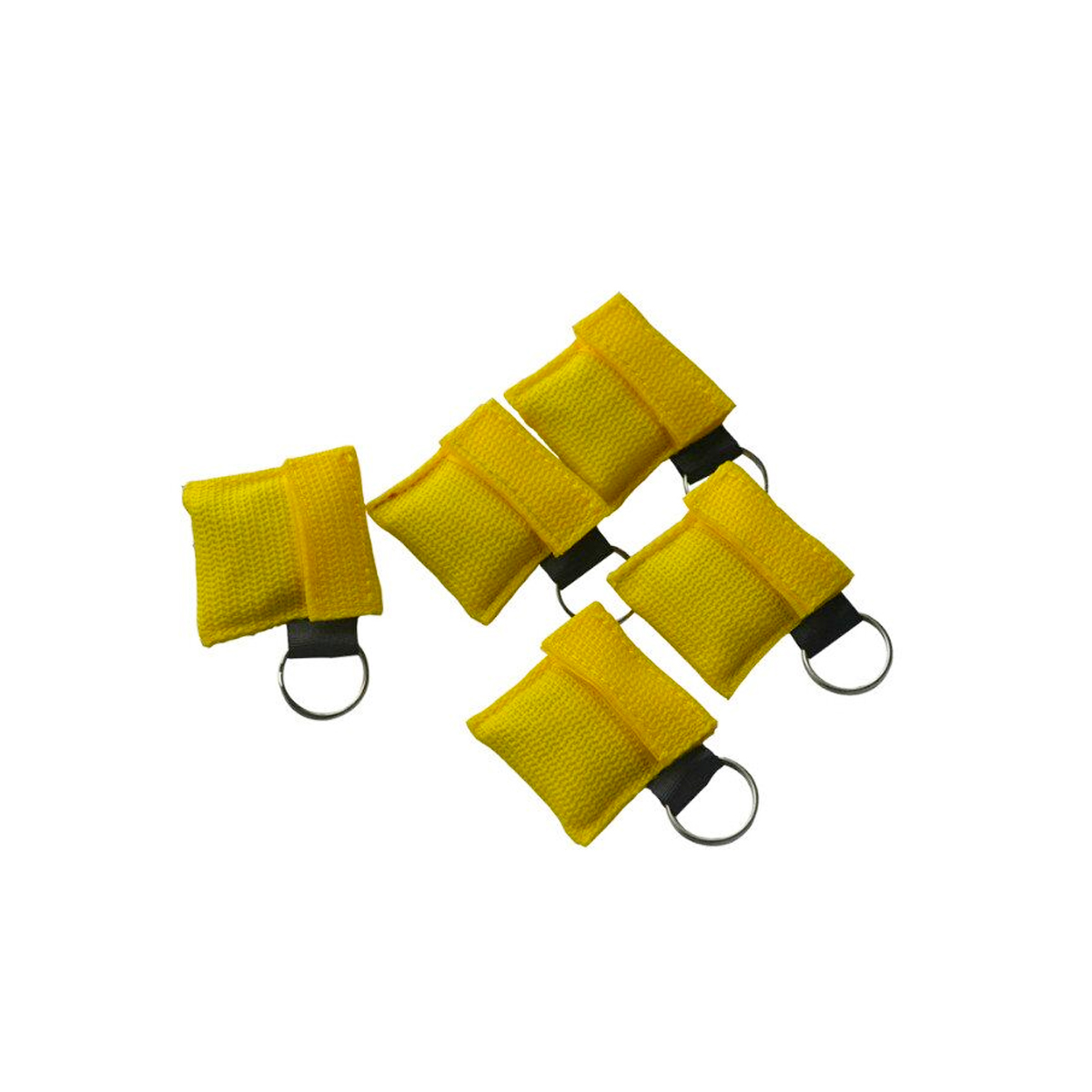 20Pcs/Pack CPR Resuscitator Mask With Keychain CPR Face Shield For CPR/AED With One-way Valve Yellow Nylon Pouch Wrapped