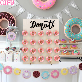 QIFU Donut Wall Holds Candy Sweet Cart Rustic Wooden Decor Wood Sweet Table Decor Birthday Party Decor Baby Shower Doughnut Bar