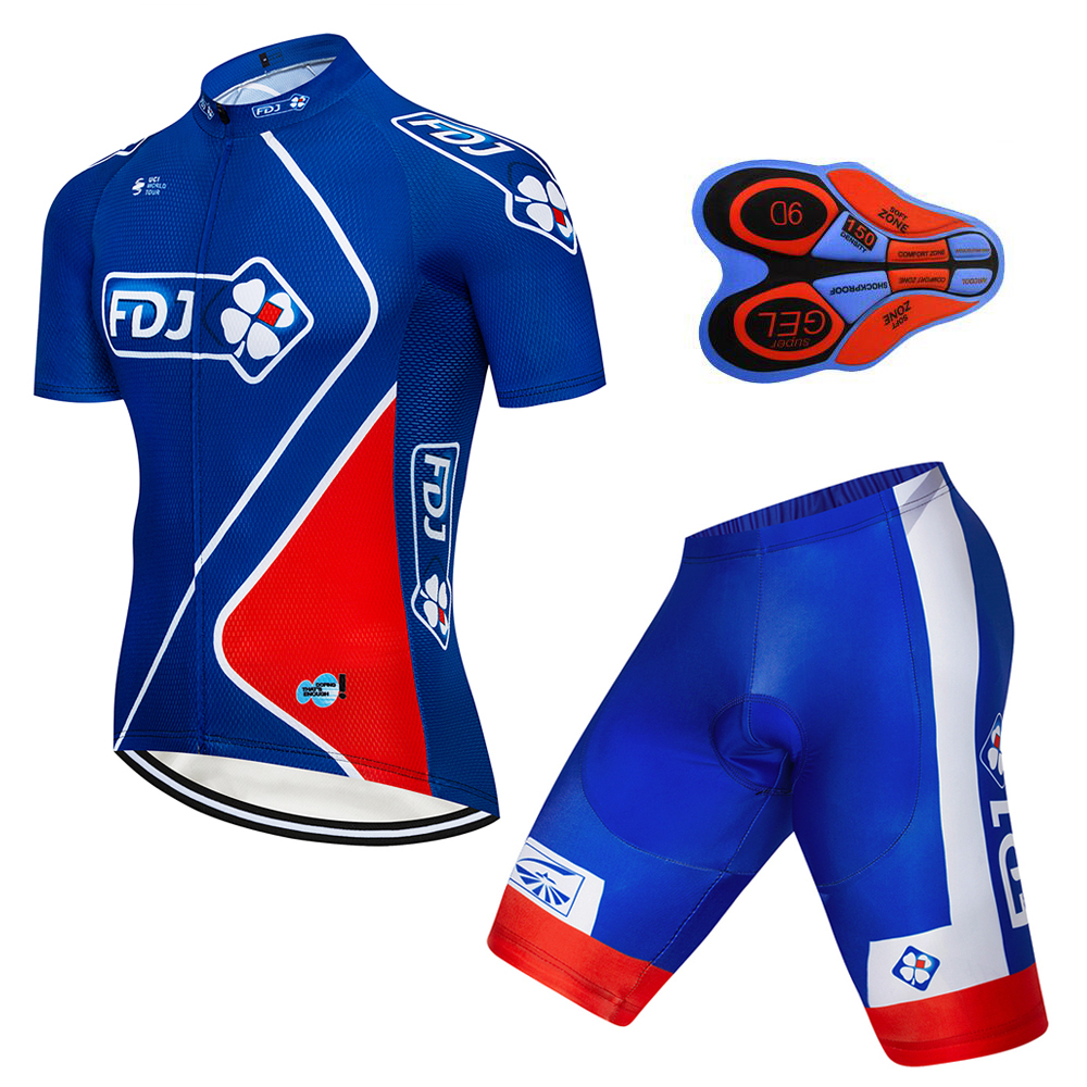 2018 FDJ Pro Team Summer Pro Sporting Racing UCI World Tour Cycling Jersey Bike Shorts Set Ropa Ciclismo Bicycle Clothing 9D2018 FDJ Pro Team Summer Pro Sporting Racing UCI World Tour Cycling Jersey Bike Shorts Set Ropa Ciclismo Bicycle Clothing 9D