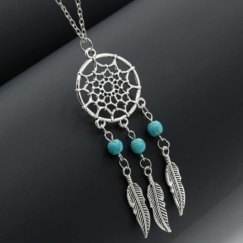 Hurtownie starożytnej posrebrzane stop dziewczyna Chian naszyjniki dla kobiet w stylu Vintage Dream Catcher pozostawia wisiorek naszyjnik biżuteria