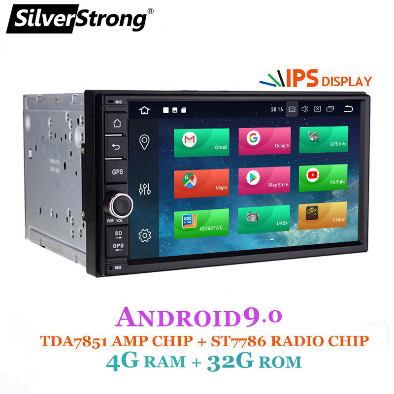 SilverStrong 7''IPS LCD Double Din Android9.0 universal 2Din DVD Android Car GPS Radio Universal 7inch auto Stereo 2din 706 image