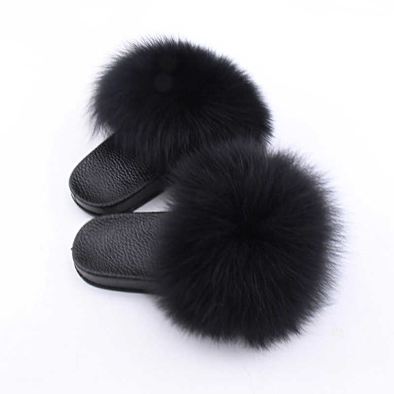 Kids Real Fox Hair Slippers 2019 Casual Plush Furry Real Fur Slippers Boys Slides Summer Shoes Girls Flip Flops Child Sandals