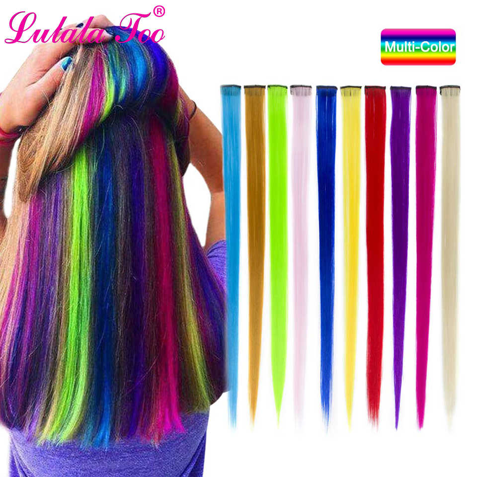Clip in One Piece Hair Extensions 50cm 20inch Long Synthetic Straight Fake Hair Clip On Hair Pieces Women Girls Pink Purple Blue
