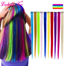 Clip in One Piece Hair Extensions 50cm 20inch Long Synthetic Straight Fake On Pieces Women Girls Pink Purple Blue