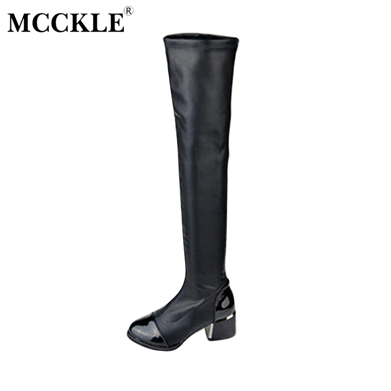 MCCKLE Female Fashion Patent Leather Slim Elasticity Slip On Chunky Heel Over The Knee Boots 2017 Women's Black Style Shoes bosch pws 850 125 06033a2704