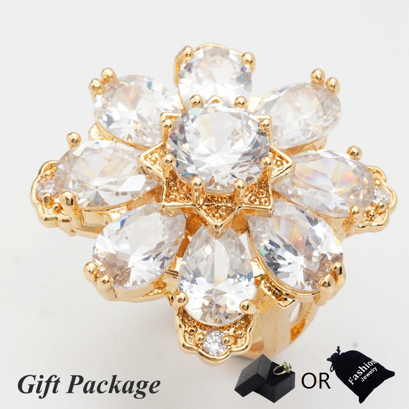 Yunkingdom Noble fashion Jewelry Gold Color Jewelry Anel Feminino luxury banquet zircon Big Rings For Women new arrive
