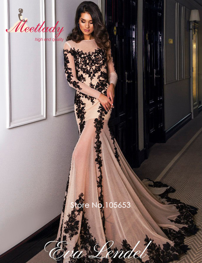 New Design Muslim Long Sleeves Evening Dress 2017 Nude -7378