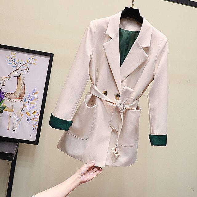 Belt Korean Slim Office Lady Blazer Jacket Vintage Hit Color Patchwork Outerwear Spring New Vogue Pockets Coats Black Beige f703