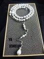 N2016040302 Novo 2016 cenário colar pingente mulheres ligação queda para trás da cadeia de jóias de prata pérola acessórios da noiva do casamento sexy