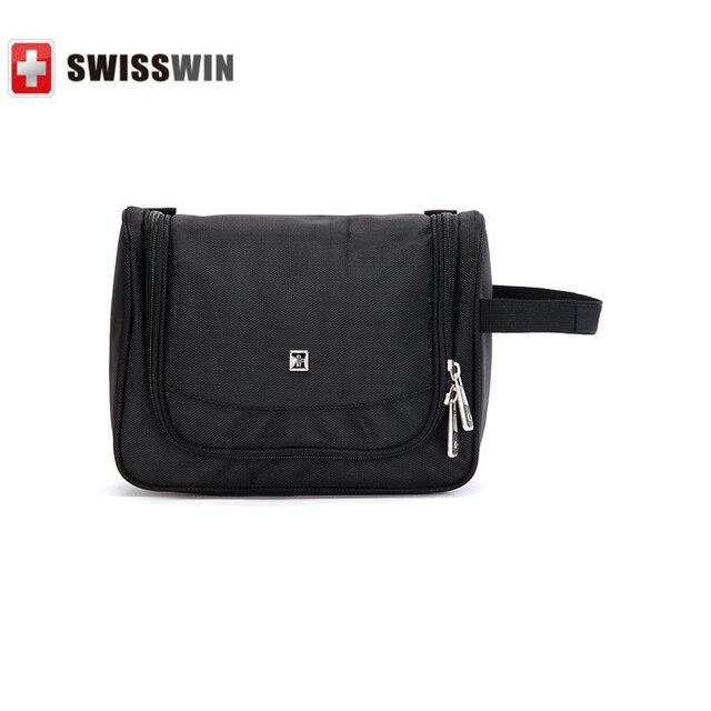Swisswin Fashion Large Make Up Cosmetic Bag Swissgear Organizer Case Black Storage Women Handbag Travel Hanging