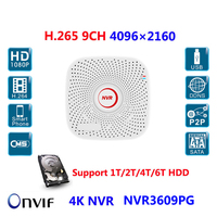 9Ch 4K NVR H 265 H 264 Onvif Multiple Languages Network Video Recorder HD720P 960P 1080P