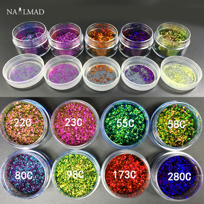 1box 0.5g Chameleon Flakes Multichrome Nail Powder Bling Nail Flecks - Nagel konst