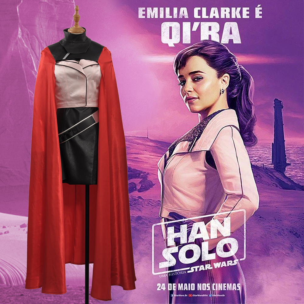 2018 Movie Solo: A Star Wars Story Qi'ra Cosplay Costume Women Cosplay Costume Halloween Adult Outfit TOP+DRESS+BELT+RED CAPE