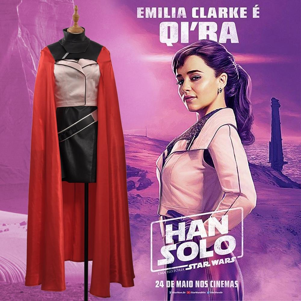 A Star Wars Story Qi/'Ra Cosplay Costume Long Dress Halloween Black Skirts Solo