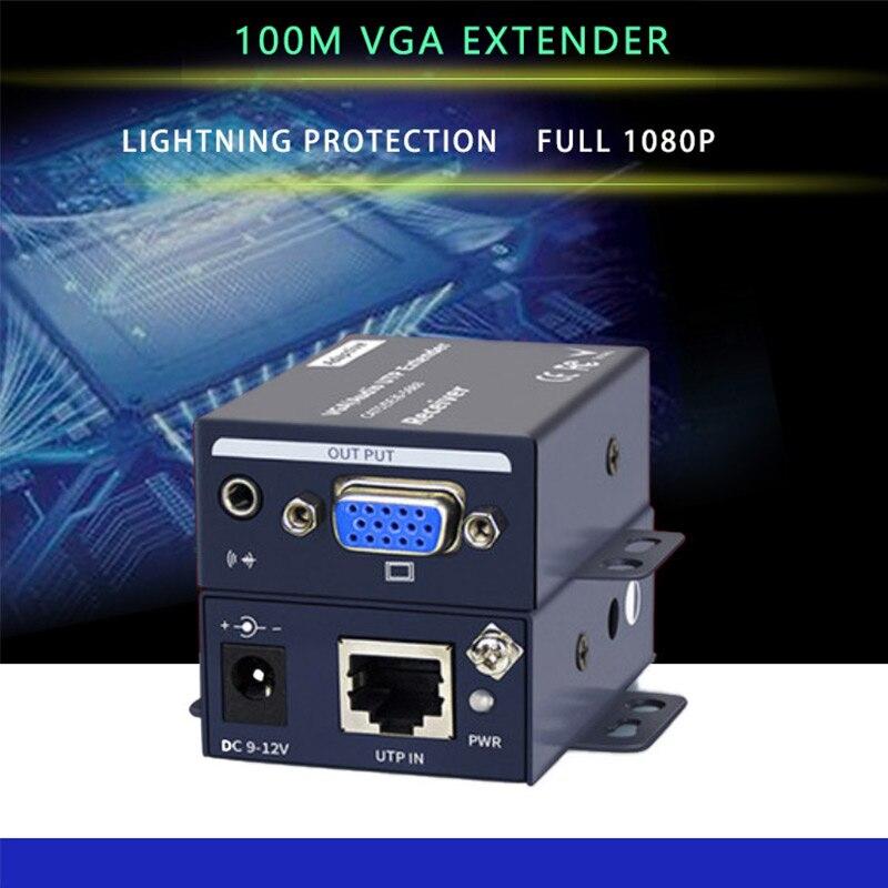 1080 P 100 M Vga Video Audio Extender Hdmi Repeater Über Cat6 Cat7 Ethernet Kabel Rj45 Sender Tx/rx Hdmi Extender Schleife Schrumpffrei Computer & Büro Kvm-switches