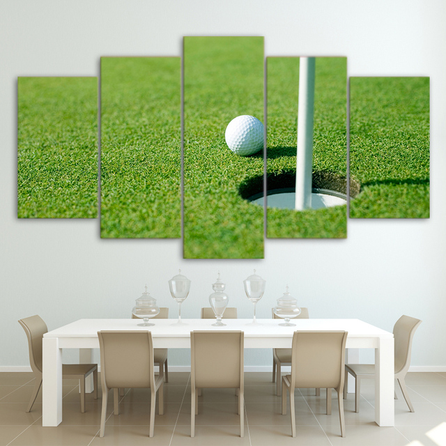 Modernes Dekor Leinwand Malerei Rahmen Wohnzimmer Wandkunst 5 Stück Grün  Golfplatz Bilder HD Gedruckt Modulare Golf