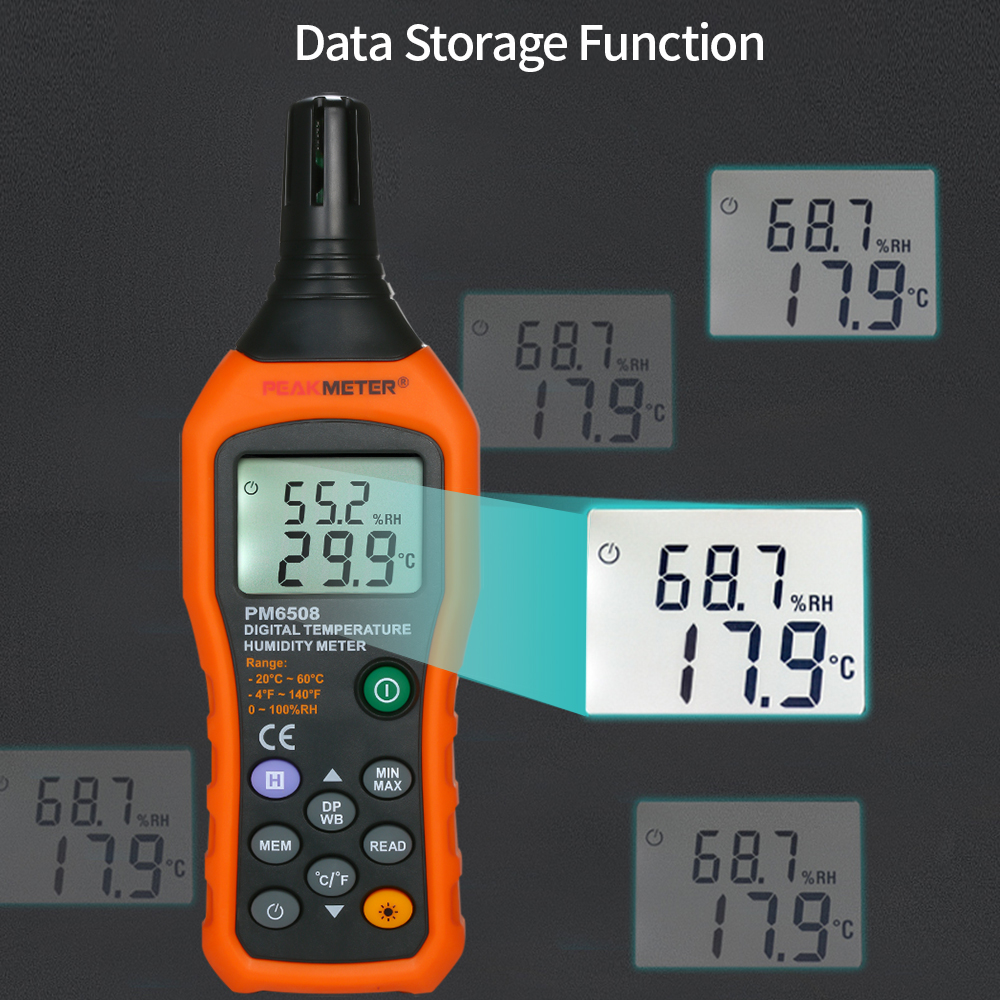 LCD Mini Temperature and Humidity Meter with Dew Point and Wet Bulb
