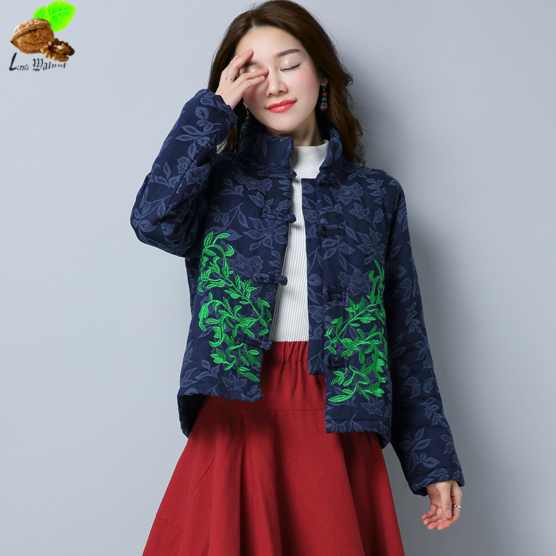 Women Winter National Wind Coats Chinese Embroidery Flower Cotton Jacquard Vintage Short Jacket Cotton-Padded Jackets for Female