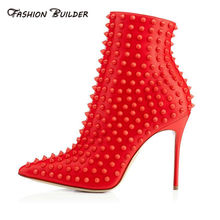 2016 Winter Neue Mode Spitz Reißverschluss High Heels Nieten Stiefeletten Frauen Party Kleid Schuhe Booties Plus Größe Angepasst