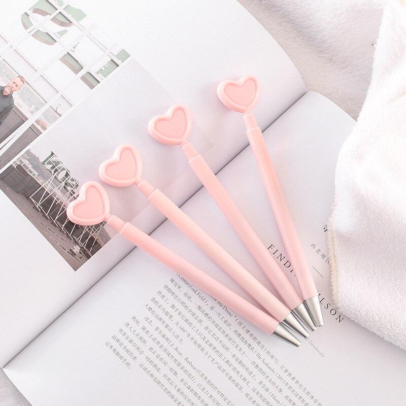 Romantic Pink Heart Gel Pen Roller Pen Stationery School Office Supply Kids Student Gift Black Ink 0.5mm G9-25