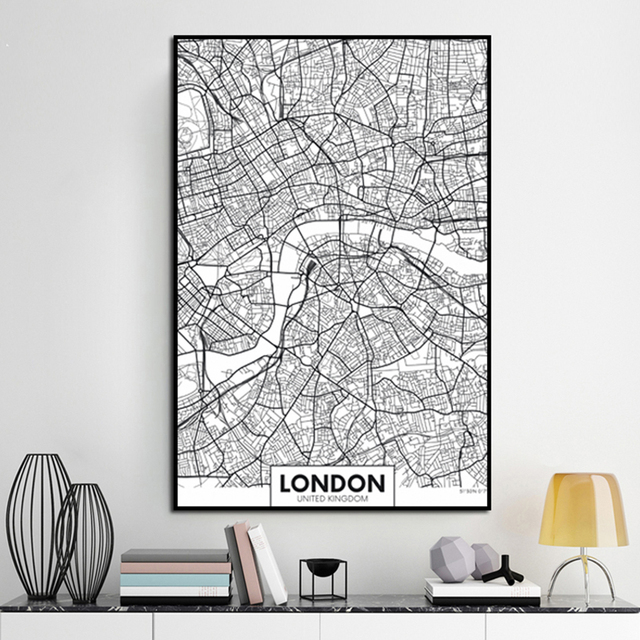 Wall Painting London New York Paris Canvas World City Map Poster Black White Abstract Skeleton Oil Unframed Drawing