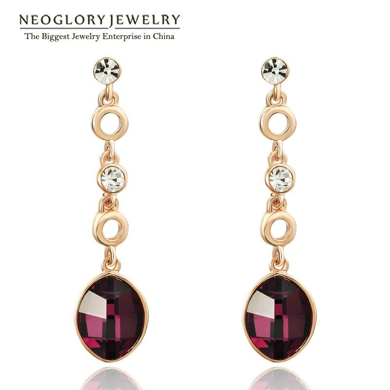 Neoglory Autrichien Strass Cristal Rose D'or Couleur Balancent Boucles D'oreilles Brincos Pour Les Femmes 2018 Marque Nouvelle Arrivée QC2