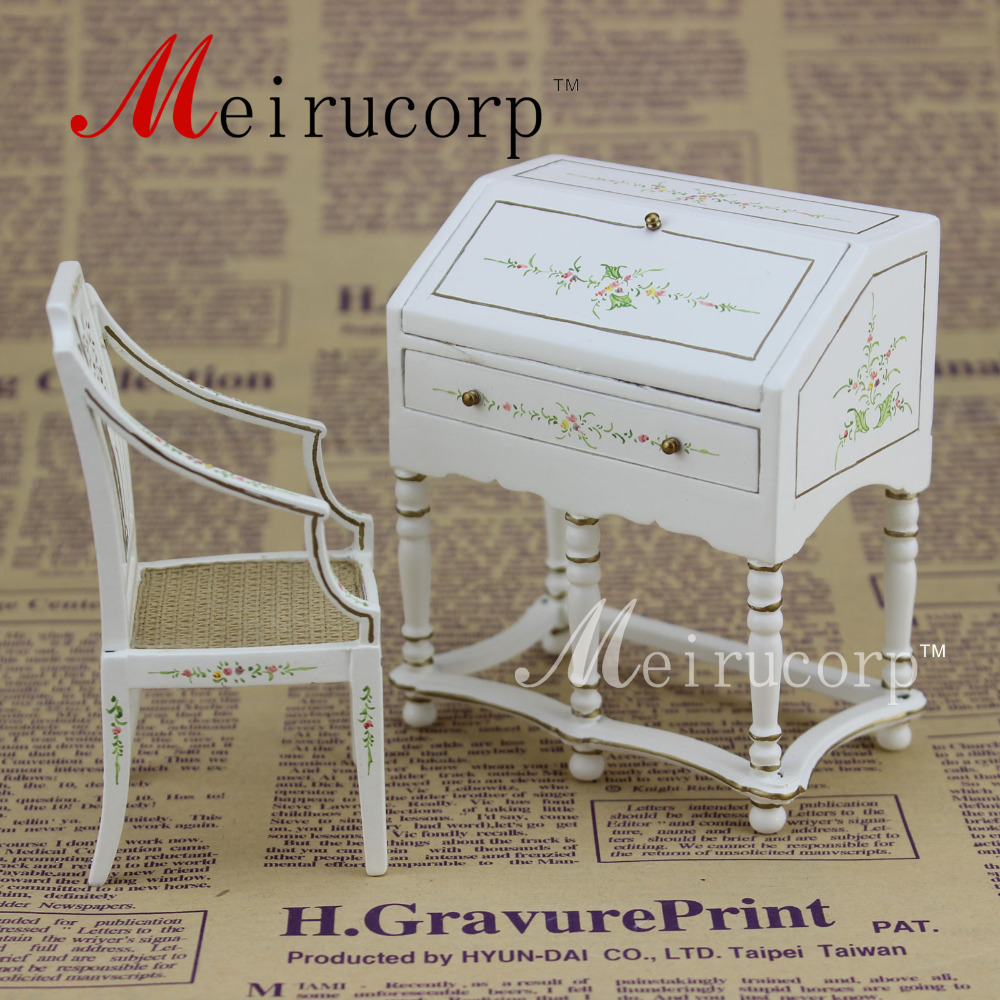 Fine 1 scale dollhouse miniature furniture White painted Writing desk and chair