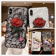 case for iPhone 8 X 7 XS Xr 6 6S Plus Max Se 5 5S protection cover coque Smile 3D unicorn Lace rose Flower PC Black frame Hoseje