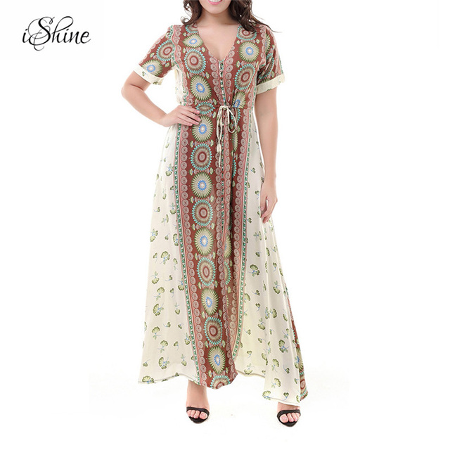 2c1975be59 2018 Fashion Women Short Sleeve Bohemia Style Sundress Floral Print Lace Up  V-neck Maxi