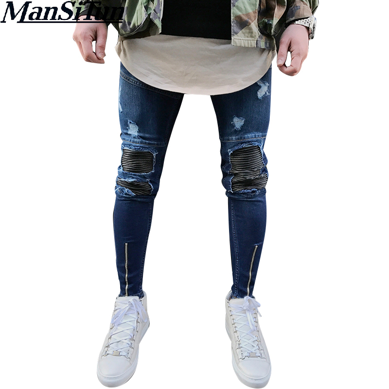 Man Si Tun Men Famous Brand Skintight Ripped Jeans Mens Distressed Moustache Effect Joggers Knee Holes Washed Destroyed Jeans