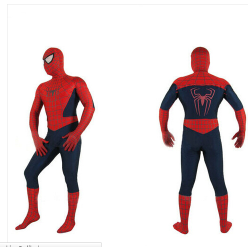 Free shipping new brand spiderman cosplay costume S-XL 155-186cm halloween adult man birthday party gift