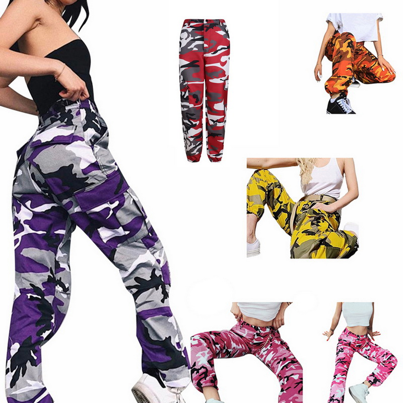 Las mujeres de moda camuflaje imprimir pantalon mujer militar pantalones casuales de las mujeres de camuflaje pantalones de las mujeres de pantalones de harén
