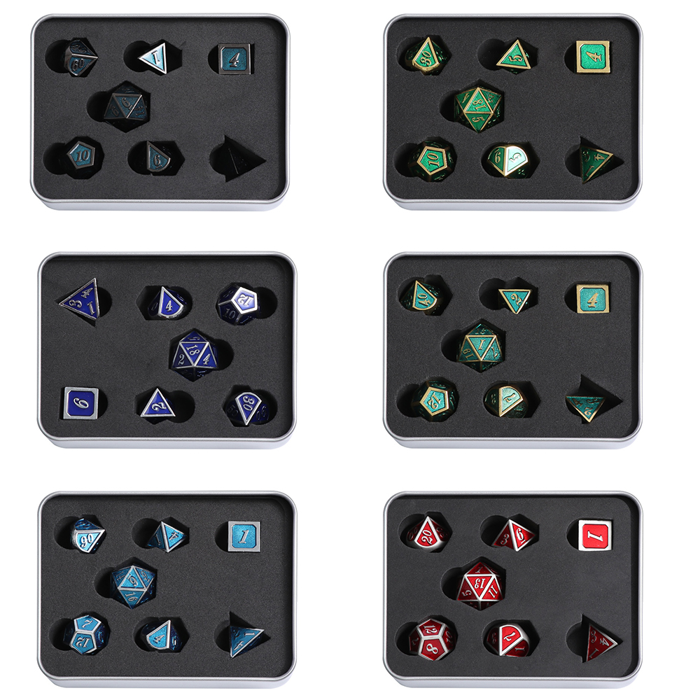 7Pcs 6 Sided Zinc Alloy Game Dice Set  For Party Table Game Board Game Metal Dice Durable Entertainment Dungeons & Dragon Dice