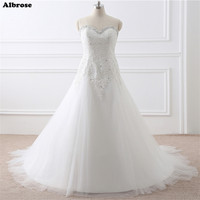 In Stock White Wedding Dress Crystals Plus Size Wedding Dresses Long Ivory Bridal Gown Appliques Beaded