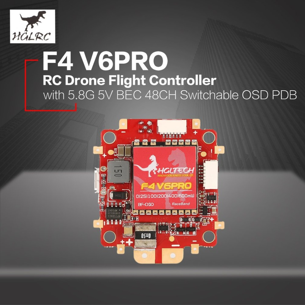 HGLRC F4 V6 PRO Flight Controller with 5.8G Transmitter 5V BEC 48CH Switchable BETAFLIGHT OSD PDB for RC Racing Drone цена