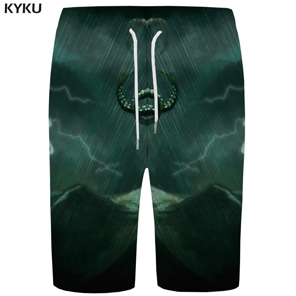 KYKU Lightning   Board     Shorts   Men Mountain Boardshorts Phantom Green Space 3d Printed   Short   Pants Beach Casual Mens   Shorts   Summer