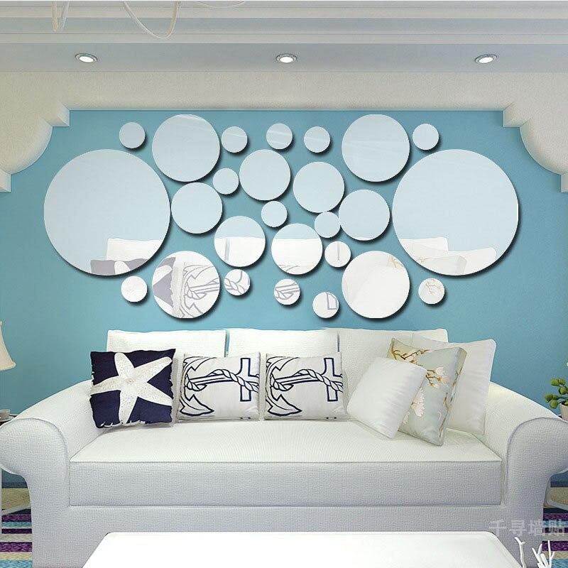 la fundecor d de cristal crculo espejo pegatinas de pared de espejos para sala de estar decoracin de la pared de acrlico e