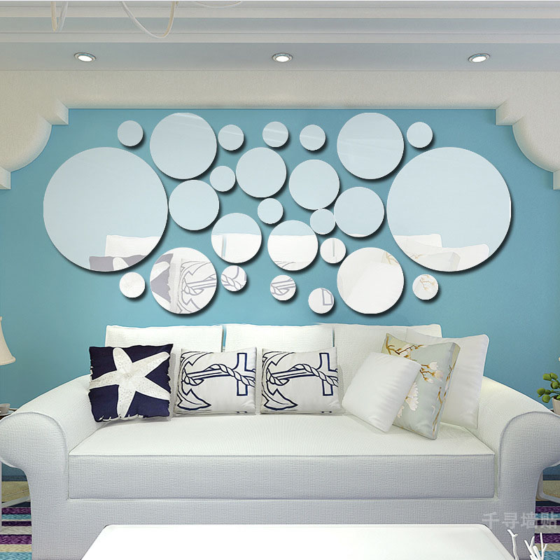 La fundecor 3d cristal cercle miroir stickers muraux for Deco 3 miroirs