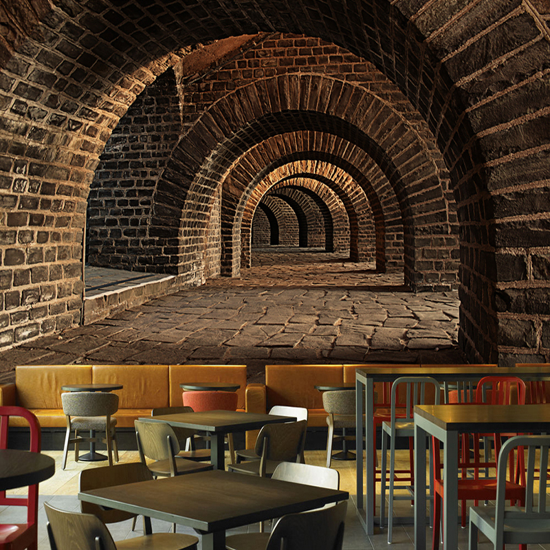 Custom 3D Mural Wallpaper Creative Extended Space Brick Wall Tunnel Bar Restaurant Personality Wall Painting Non-woven Wallpaper