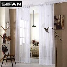 Cortinas baratas Sólido Blanco Tulle Moderno Cortinas para la Sala de estar Cortinas Translucidus Ventana Transparente para el Dormitorio Por Encargo