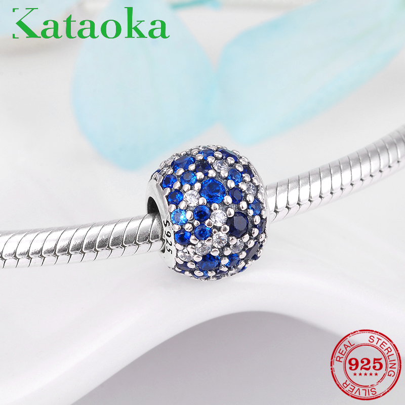 100% 925 Sterling Silver colorful Blue Charm CZ Beads Fit DIY Style Bracelet Pendant Necklace DIY Jewelry Originals