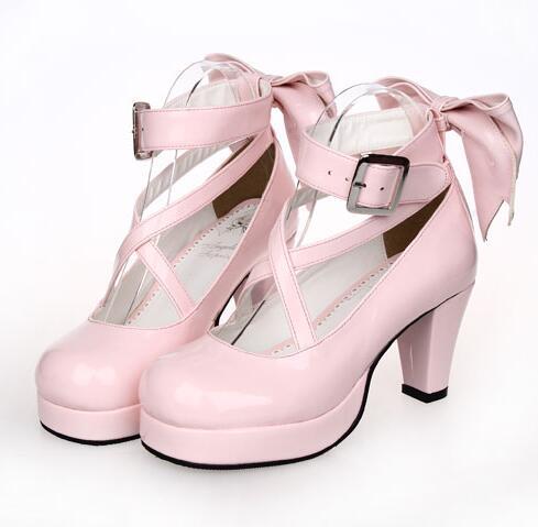 Puella Magi Madoka Magica Cosplay Shoes Japanese Style Anime Shoes High Heels