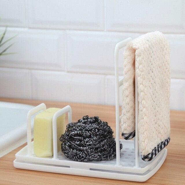 Multi Function Kitchen Desktop Rag Rack Dish Cloth Drain Free Punching Sponge Soap Shelf Storage