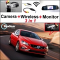 3 in1 Special Rear View Wifi Camera + Wireless Receiver + Mirror Monitor DIY Buck Up Parking System For Volvo S60 S60L