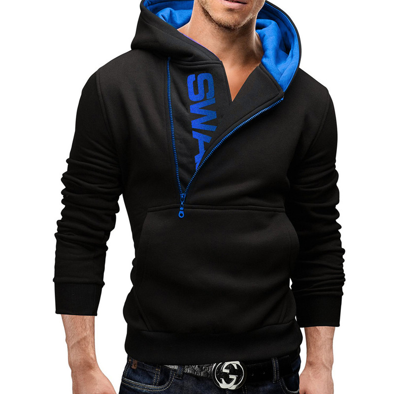 2019 novo estilo de moda masculina personalidade quente hoodie moletom com capuz masculino, esporte boné zíper lateral com homem hoodie S--4XL